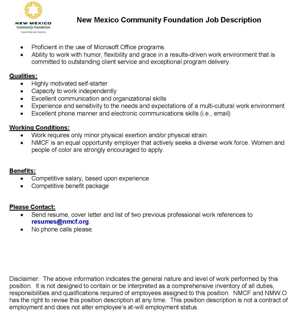 New Mexico Community Foundation And NewmexicowomenOrg Are Hiring